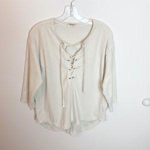 Madewell Tops - Madewell sweater lace up Libra sweatshirt top